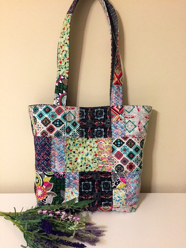 Quilted tote bag with premium cotton fabric with denim.Handmade quilting tote bag,shoulder bag,women/'s handbag.