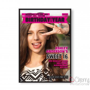 Trending Magazine Photo Insert Themed Single Sided Personalised Birthday Invitations - From as little as £0.41 per card - Including free envelopes and delivery on all orders!
