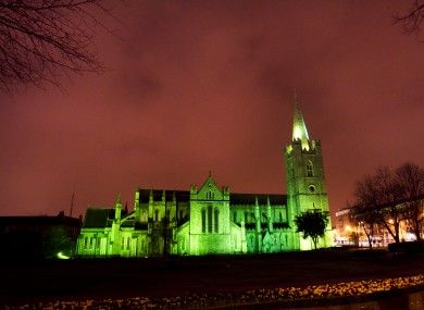 St, Patrick's Cathedral in Dublin goes green for St. Patrick's Day weekend celebrations. Would kill to be there.