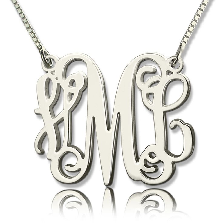 Custom Monogram Initial Necklace, Discover More Personalized Monograms at GETNAMENECKLACE.COM
