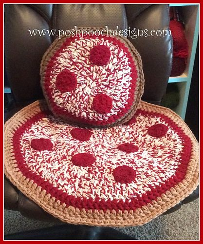 Pizza Pillow to go With the Pizza Blanket Crochet Pattern