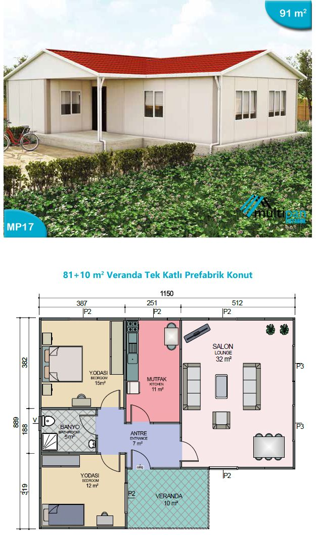 mp17 81m2 10m2 2 bedroom 1 bathroom separate kitchen and lounge veranda bedroom 1 15m2. Black Bedroom Furniture Sets. Home Design Ideas