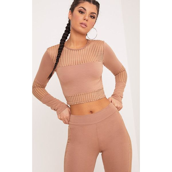 Wanita Camel Fishnet Panel Long Sleeve Crop Top (125 MAD) ❤ liked on Polyvore featuring tops, camel, red top, fishnet crop top, camel top, red fishnet top and fishnet long sleeve top