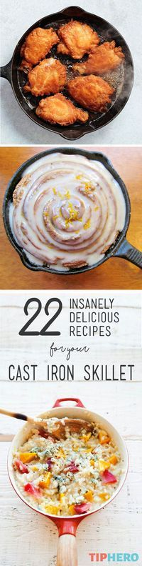22 Insanely Delicious Recipes for your Cast Iron Skillet   Never would we think of making artichoke spinach dip, pizza, lasagna or  orange-spiced rolls in a skillet. But this collection of recipes shows that there are many delicious apps, mains, and desserts waiting to be cooked up in your trusty pan. The only questions is, which one will you try first? Click for the full list.#familydinner #homecooking #recipeideas #easyrecipes