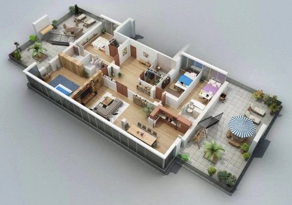 Visualizer Shake Gurgenidze does a wonderful job of making four bedroom layouts seem playful and brights.