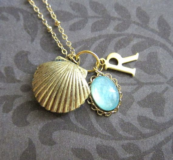 Shell Locket Necklace Personalized Bridesmaids Locket Initials Customized Gift Gold Locket Wedding Mermaid Sea Side Beach Ocean Summer - by JEWELSALEM