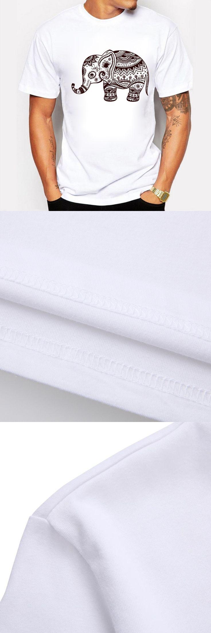 Men T-shirt Summer Style Man Tops Elephant Cartoon Animal Print Short Sleeve Chinese National Wind Pattern Tee Shirt Male White