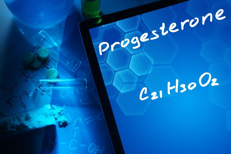Tablet with the chemical formula of progesterone.