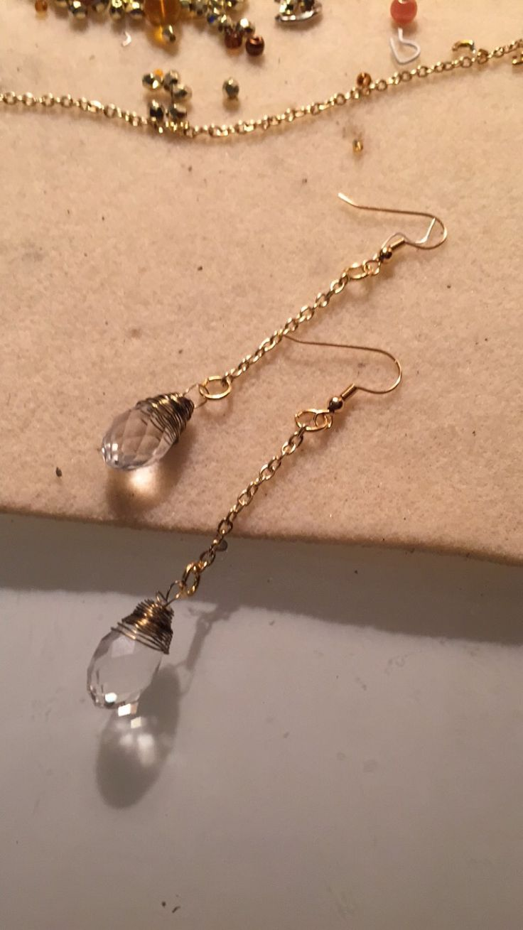 Crystal drop wire wrapped earrings