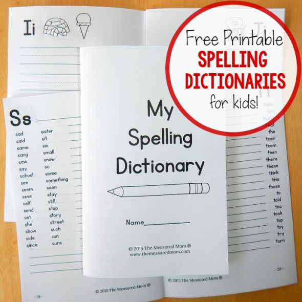 free printable spelling dictionaries for kids square image