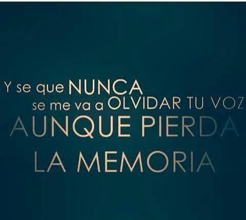 Y se que nunca se me va a olvidar tu voz aunque pierda la memoria.