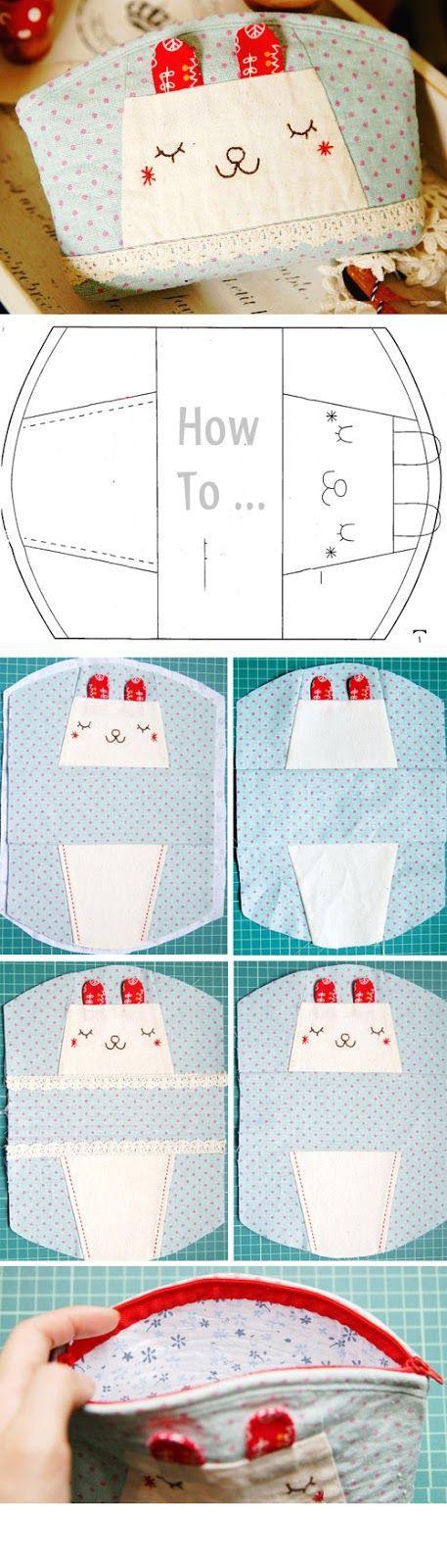 Pencil Case or Cosmetic Bag. How to sew. DIY Photo Tutorial  http://www.handmadiya.com/2016/02/honey-bunny-bags.html