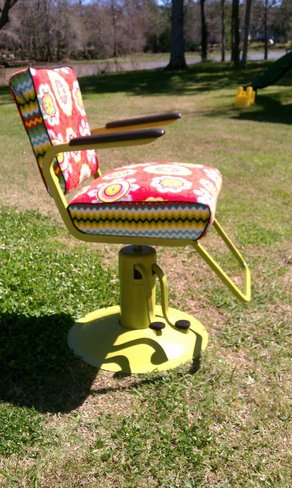 Vintage Reupholstered Salon / Barber Chair by tsfunder on Etsy, $725.00