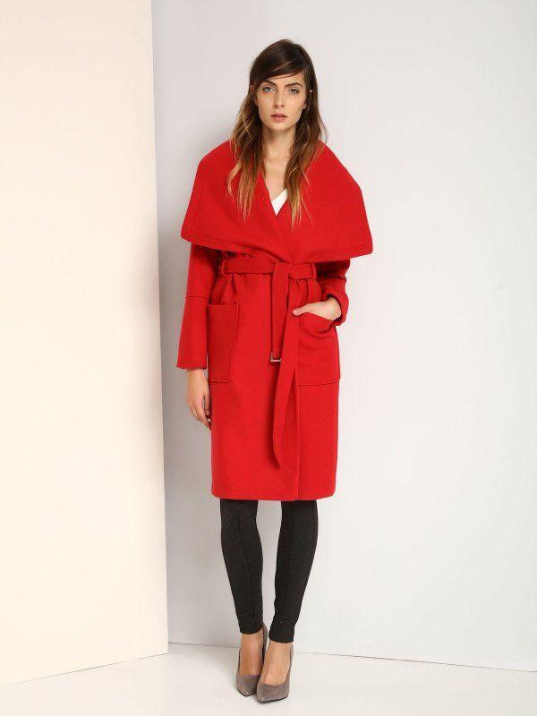 W2017 płaszcz damski z wełną długość regularna czerwony - SPZ0347 TOP SECRET