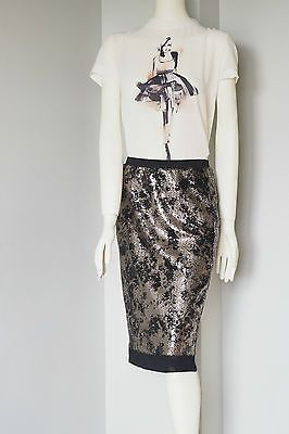 Catherine-Malandrino-Black-and-Gold-Sequin-Pencil-Skirt-Mesh-Trim-Party-Size-S