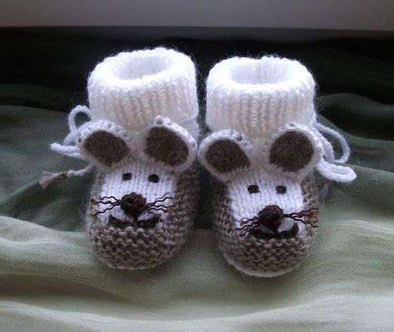 Chaussons de bébé tricotés chaussons bébé souris, chaussons de garçon enfant en bas âge, chaussons de fille enfant en bas âge, cadeau de naissance, baby shower américain, bottillons nouveau-nés, cadeau