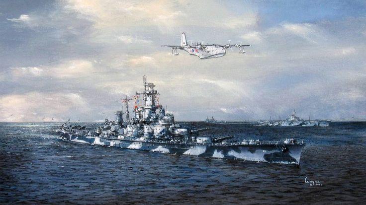 """Скачать обои """"Коронадо"""", арт, WW2, авианосец, линейный корабль, море, Консолидэйтед PB2Y, ВМФ США, рисунок, небо, «Алабама», """"Энтерпрайз"""", (BB-60), гидросамолет, Uss Alabama, раздел оружие в разрешении 1366x768"""