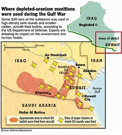 Approximate area and major clashes in which Depleted Uranium bullets and rounds were used in the Gulf War