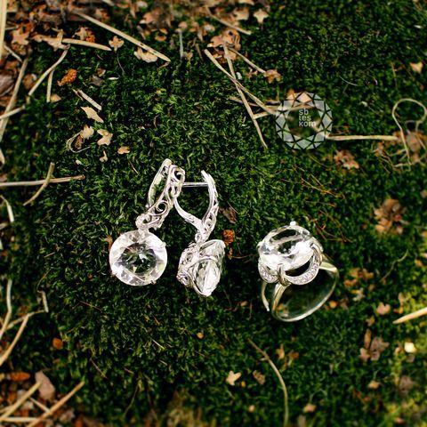 Серебряные серьги с горным хрусталём