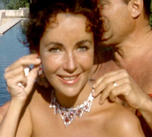 Elizabeth Taylor, 1957, in a Cartier necklace from husband Mike Todd.