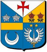 """77240 Savigny-le-Temple : """"Tiercé en pairle. Avec le chef d'argent à une croix pattée de gueules au pied fiché. A dextre, d'azur à l'épée ailée d'argent au pommeau..."""