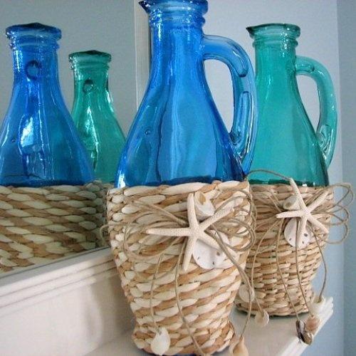 Beach Decor Cobalt Blue Sea Grass Bottle Vase w Starfish & Shells