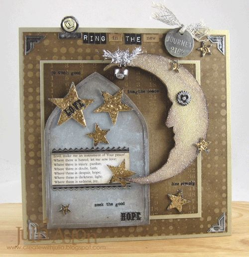 Create With Me: A New Year's theme panel I made for the A Vintage Journey challenge - using lots of Tim Holtz/Ranger goodies and a portion of the Prayer of St. Francis.