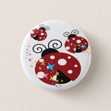 Three red and black ladybug with stars pinback button - kids kid child gift idea diy personalize design