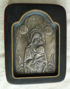 Old Greek Sterling Silver Madonna and Child Wood Plaque