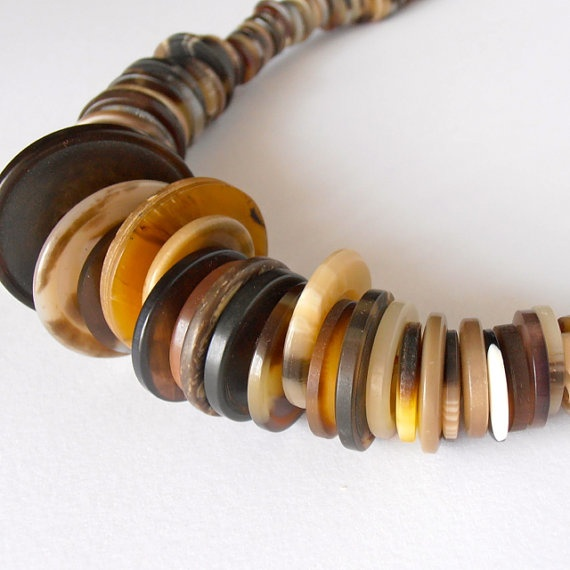 Vintage brown button necklace rustic by hundredsofbuttons on Etsy, $40.00