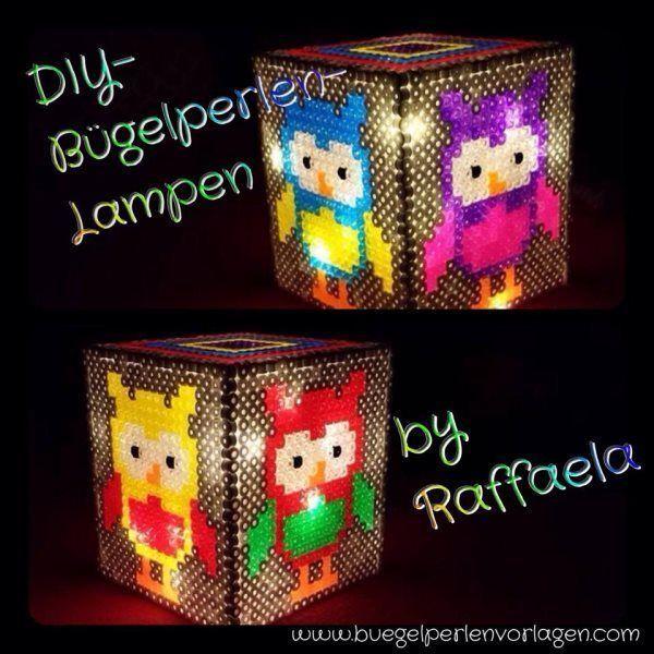 DIY Lampe aus Bügelperlen - DIY Perler bead owl lamp