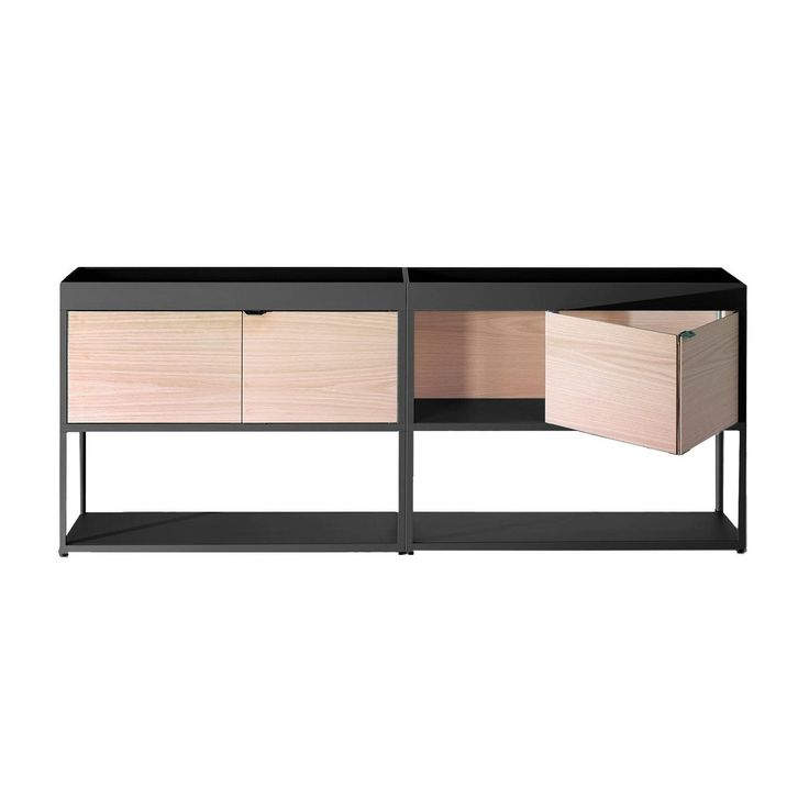 HAY - New Order - Rek/sideboard 200x79.5cm - antraciet /es/2 houten deuren
