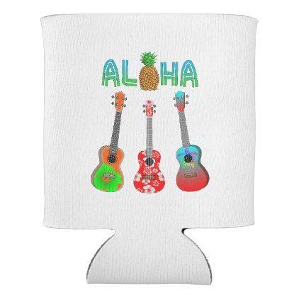 Hawaiian Ukulele Aloha Hawaii Can Cooler - decor gifts diy home & living cyo giftidea