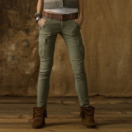 skinny cargo pants for women | Denim & Supply Ralph Lauren Skinny Freedom Cargo Pant in Khaki (Green)
