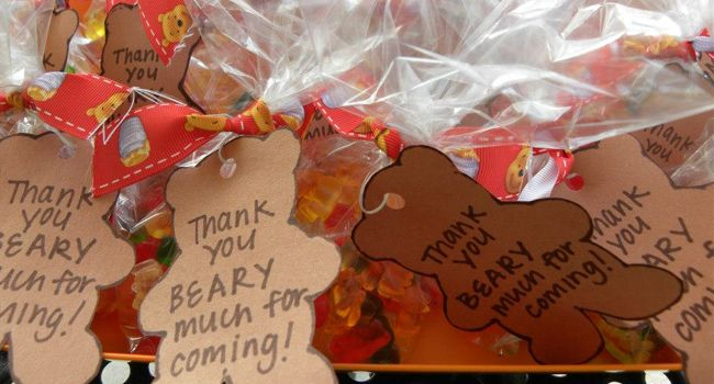 Cute labels for teddy bears' picnic party bags. You could include anything teddy bear (stickers, rubbers, key rings) and, of course, gummy bears!