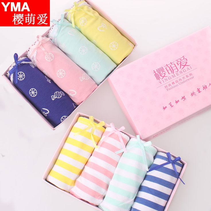 Waist cotton knickers fabric sexy lace underwear briefs cute girl cuecas students striped underpants gift box kawaii panties-in Briefs from Women's Clothing & Accessories on Aliexpress.com   Alibaba Group