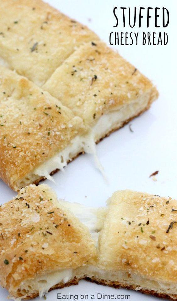 Easy 15 minute homemade Stuffed Cheesy Bread recipe. This warm and gooey cheesy …