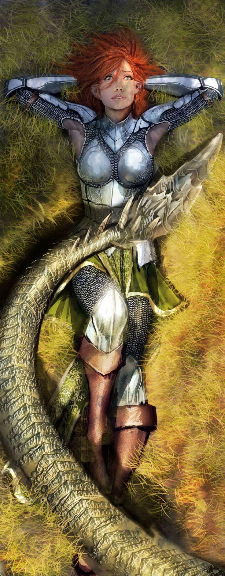 """Mujer-escudo: """"Sus dobles femeninos, espectros internos de su goce."""" Glorificación de la """"cosa""""."""