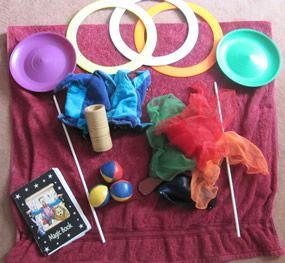 Photographs shows all the Magic Props mentioned in this article! This article shows how to use some basic magic props to liven up your Juggling Routines!