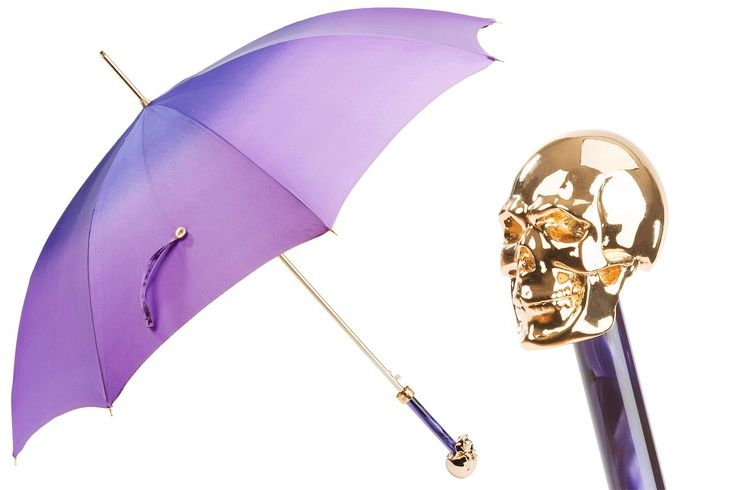 Pasotti Gold Skull Purple Umbrella