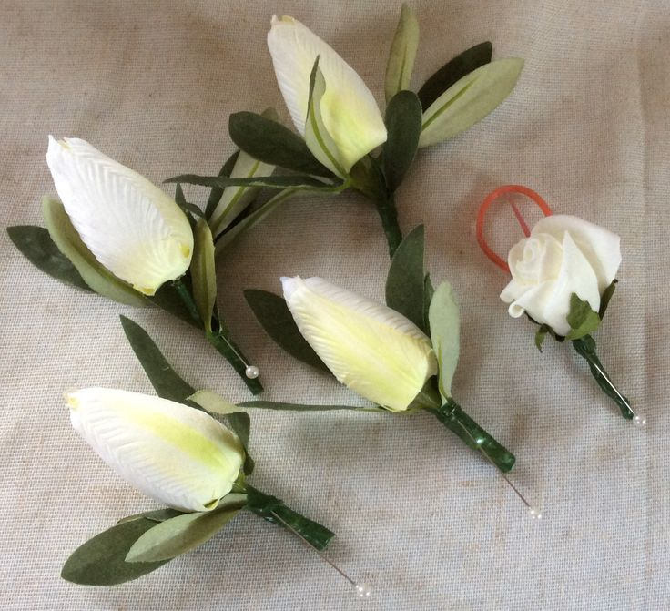 Tulip button holes by Cathey's flowers