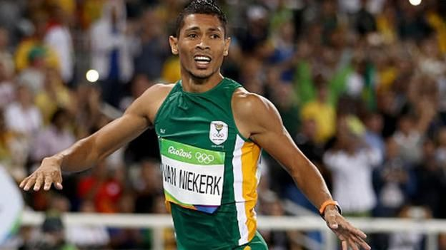 South Africa's Wayde van Niekerk breaks Michael Johnson's 17-year-old 400m world record to win Olympic gold at Rio 2016. FEELING PROUDLY SOUTH AFRICAN!!