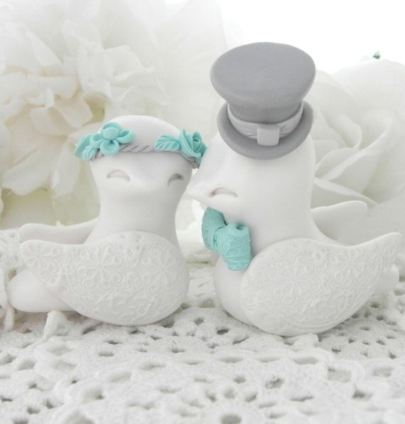 Love Birds Wedding Cake Topper Aqua Grey and White by LavaGifts