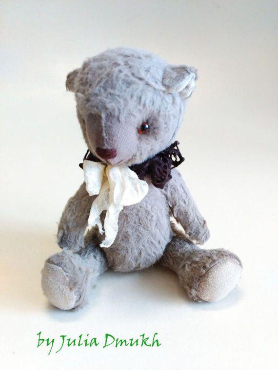 OOAK Art toy Teddy bear toy Soft teddy bear toy Stuffed toy Handmade teddy to order miniature bear 5,31 inches