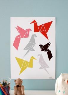 Origami poster- fresh take on birds for nursery art.