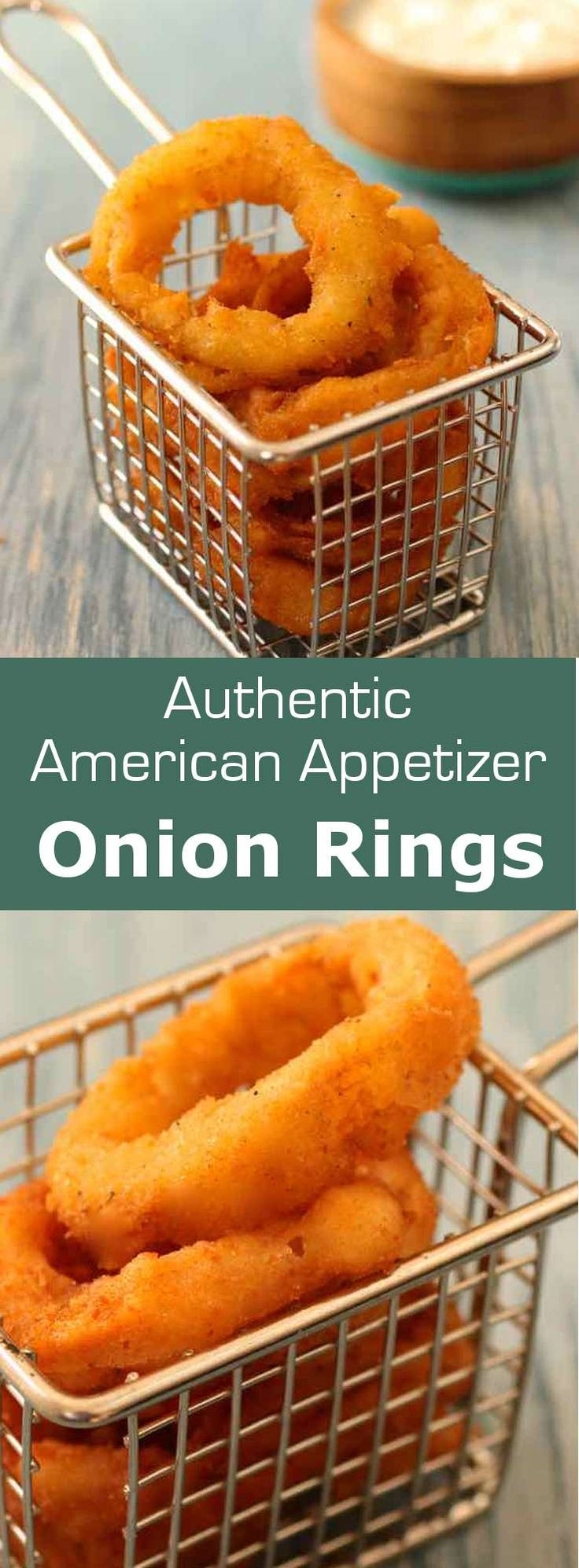 Traditional American recipe of the famous onion rings, fried and served with ranch dressing or barbecue sauce. #AmericanCuisine #AmericanClassic #AmericanRecipe #BarFood #SideDish #Appetizer #196flavors