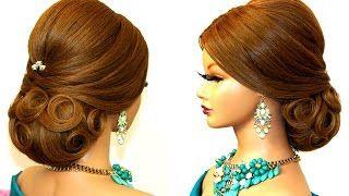Bridal updo. Romantic hairstyle for medium hair. - YouTube