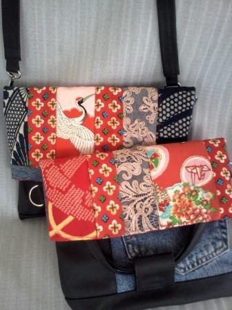 Japanese vintage kimono world: Vintage kimono bag with scraps of other fabrics
