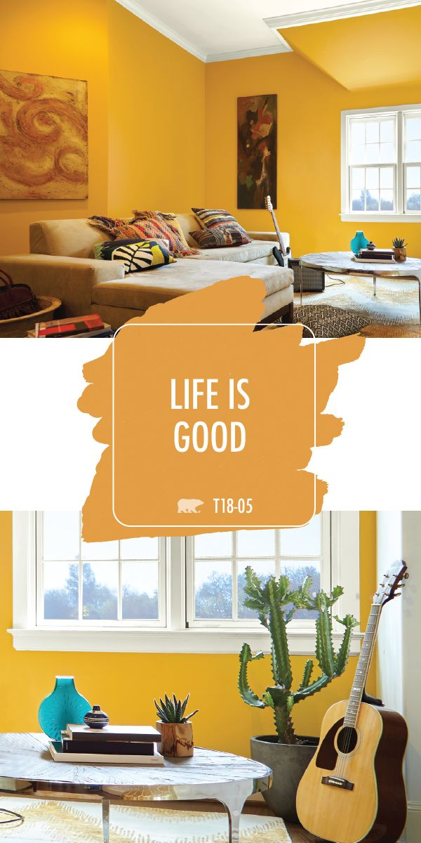 We're feeling bright and happy thanks to the warm yellow hue of Life Is Good by BEHR Paint. Whether your interior design style is modern or Southwestern chic, this vibrant paint color can do it all. Explore the rest of the BEHR 2018 Color Trends collection to discover more stylish hues for all of your DIY home makeover projects.