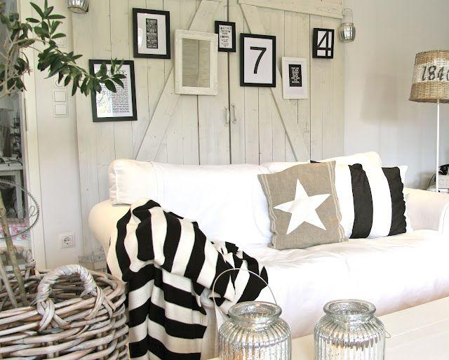 White, blue and stripes for nautical decor